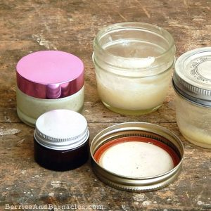 Simple homemade balms with carrier oil and was or cocoa butter. Only takes 5 minutes!